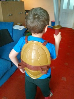 Big Boy Showing his Teenage Mutant Ninja Turtle Skills